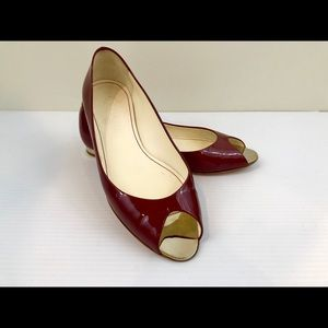 CHANEL Burgundy Patent Leather Peep Toe Flats
